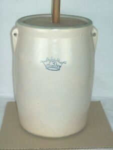 """Primitive"" Robinson Ransbottom Blue Crown #3 Butter Churn Crock Made in U.S.A."