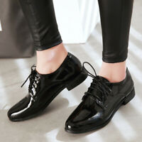 Women Girls Oxford Brogue Fashion Flats Pointed Toe Lace Up Casual Creeper Shoes