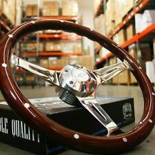 14 Slotted 3 Spoke Steering Wheel Dark Wood Riveted Grip 6 Hole Chevy Horn
