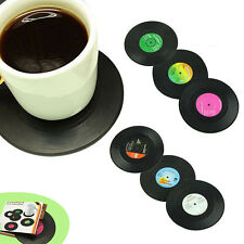 Set of 6 Drink Coasters with Gift Box - Vinyl Record Retro Mats Good Grip Gift