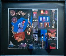 Modernist Brutalist Metal Stone Assemblage Painting Burning Cityscape Firemen