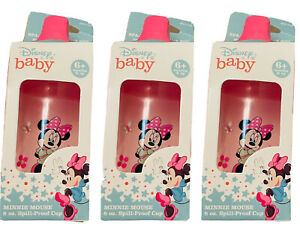 👼🏻NIB Set Of 3 Disney Baby Minnie Mouse 8oz Spill proof cup, 6 mos No BPA Pink