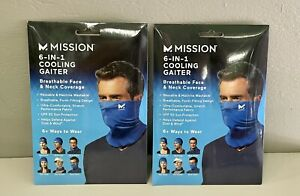 """NEW 2 Pack Mission 6""""x 8 """" Blue Hydro Active Neck Cooling Gaiter 6-in-1 Adult"""