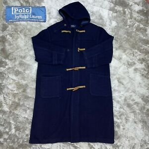 Vintage 80's POLO Ralph Lauren Navy Blue Loden Duffle Toggle Wool Hooded Coat XL