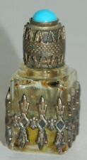 Miniature French Perfume Bottle - Square w/ Metal Surround & Turquoise