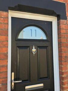 WINDOW FROSTING FILM CUT TO SIZE, FRONT DOOR ARCH WINDOW ETCHING DOOR NUMBER