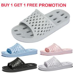 Buy 1 get 1 Free Women Men Bathroom Slippers Shower Shoes Summer Non-slip Slides