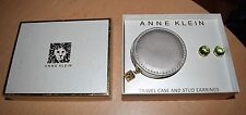 ANNE KLEIN Gold Faceted Green Stone Stud EARRINGS & Travel Case Gift Box Set NEW