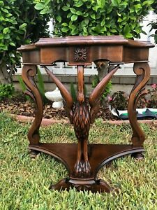 """Vintage Art Deco Wooden Carved Bird Figure Table With Marble Top 25 """" Tall"""