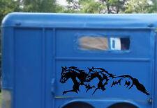 22x65 Running Horses & Stripe Stickers for Horse Trailer Truck Vinyl Decals