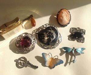 Antique Vintage, Silver Thailand Brooch Butterflies / Jewellery,  Lighter Cameo