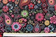 Dekostoff-Gobelin, Jacquard, B&B Fabrics, Paisley, Blumen, schwarz, bunt, 140cm
