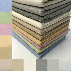 Plain Cotton Rich Linen Look Fabric Upholstery Craft Curtain Furnishings