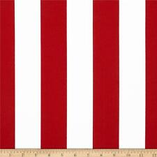 "Red and White 2"" Deck Stripe OUTDOOR Fabric, Red Upholstery Fabric by the Yard"
