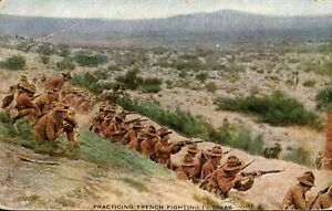 WWI Doughboys in Texas Practice Trench Fighting,1900s Postcard