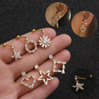 Fashion Woman Surgical Cartilage Stud Earrings Flower Star Heart piercing Tragus