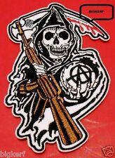 """GRIM REAPER  SOA  GUN & SICKLE BIKER GEAR PATCH  3 1/4""""  X  5 1/4""""  IRON OR SEW"""
