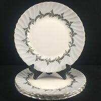 Set of 4 VTG Salad Plates EB Foley Silver Fern Platinum Trim Laurel England