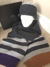 PAUL SMITH 100% WOOL STRIPE SCARF & PEAK HAT SET MADE IN ENGLAND BNIB