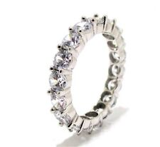 14K White Gold Cubic Zirconia Eternity Ring Band Size 5 - 8