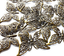 15 Tono Bronce Adorno mariposa filigrana forma Wrap encanto Decoración 38 mm