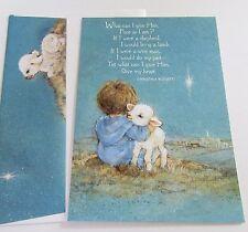 Unused Vtg Christmas Card Cute Shepherd Boy Hugging Lamb Hallmark Card