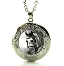 Beautiful Horse Necklace Locket  Art Picture in a Gift Box