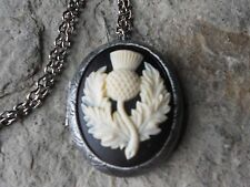 SCOTTISH THISTLE CAMEO ANTIQUED SILVER PLATED LOCKET - SCOTLAND EMBLEM