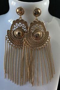 Long Gold Tassel Statement Earrings