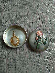 Camée ancien profil de femme en coquillage pendentif plaqué or + boîte argenté