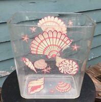 Vintage Wolff New York Lucite wastebasket Seashell design