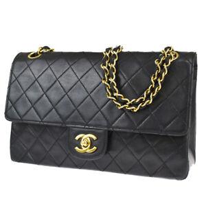 CHANEL CC Matelasse Quilted Chain Shoulder Bag Leather Black Vintage 623LB413