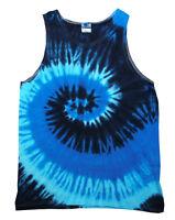 Tie Dye Sleeveless T-Shirts Blue Ocean Colortone Adult S - 3XL 100% Cotton