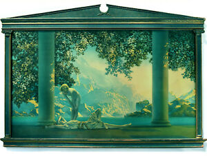 "Lg. Antique Max Parrish Print ""Daybreak"" - AWESOME Original Architectural Frame"