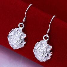 Free Shipping 925Sterling Silver Jewlery Rose Flower Lady Dangle Earrings E066