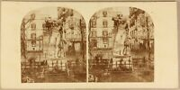 Italia Napoli Villa Reale Soprammobile c1860 Foto Stereo Vintage Albumina