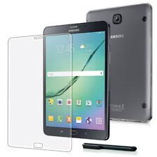 9H Hartglas Folie+ Silikon Tasche Samsung Galaxy Tab S2 8.0 Crystal Case-TPU