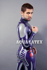 NGE Style Plugsuit Men Latex Costume Metallic Purple Bodysuit