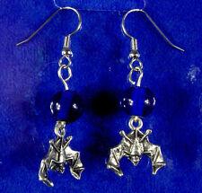Pewter Bat Charms Blue Glass Beads HALLOWEEN Earrings