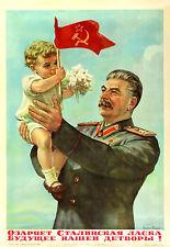 Cartel soviético Stalin con bebé A3 reimpresión