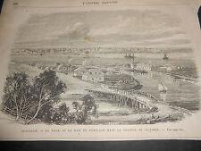 1870 ORIGINAL ANCIENT ENGRAVING AUSTRALIA CITY AND HARBOUR OF PORTLAND VICTORIA
