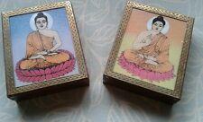 DECORATELY BRASS INLAID HINGED HARDWOOD BOX WITH BUDDHA (blue)