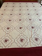 """Vintage RED EMBROIDERED FLOWERS GREAT QUILTING Quilt 94"""" x 88"""" Queen #531"""