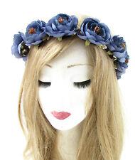 Indigo Blue Tea Rose Flower Headband Hair Crown Wreath Garland Boho Ribbon 776