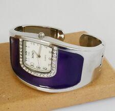 XOXO #XO1082 Purple Enamel Rhinestone Quartz Watch Cuff Hinged Silver Tone