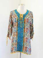 Tolani Silk 3/4 Sleeve Tie Paisley Print Tunic Blouse Top Size S Blue Yellow Red