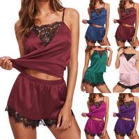 Women Sleeveless Strap Nightwear Lace Trim Satin Cami Top Pajama Sets Sleepwear