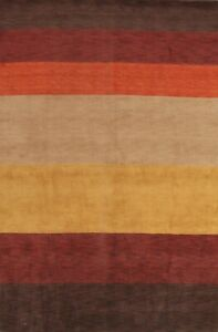Striped Gabbeh Oriental Contemporary Wool Area Rug Living Room Hand-knotted 7x10