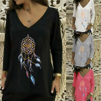 Women's Ladies Casual V-Neck T-shirt Long Sleeve Printed Fashion Tops Blouses US