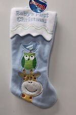 SWEET BABY BOYS FIRST CHRISTMAS STOCKING Blue Holiday Decoration Owl Bird NEW